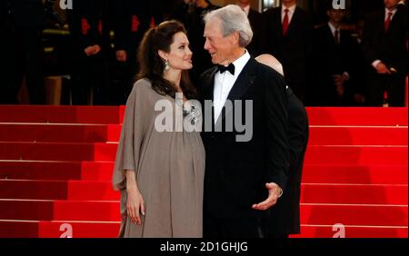 U.S. director Clint Eastwood and cast member Angelina Jolie arrive for the screening of the film 'The Exchange' at the 61st Cannes Film Festival May 20, 2008.  REUTERS/Eric Gaillard  (FRANCE)
