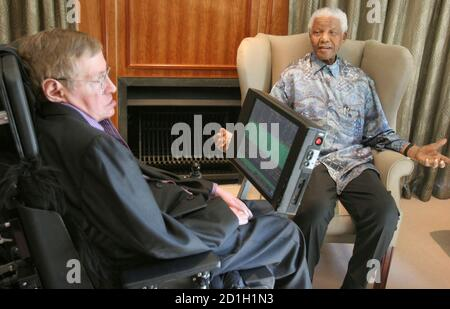 Former South African President Nelson Mandela (R) meets theoretical physicist Professor Stephen Hawking at Mandela's Foundation office in Johannesburg May 15, 2008. Hawking is on a short visit to South Africa. REUTERS/Pool (SOUTH AFRICA) - Stock Photo