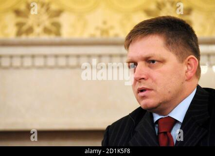 Slovakia's Prime Minister Robert Fico speaks during a Reuters interview in the Office of the Government of the Slovak Republic in Bratislava December 8, 2008. REUTERS/Radovan Stoklasa (SLOVAKIA)
