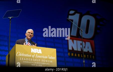 Retired U.S. Marine Corps Lt. Col. Oliver North speaks during the National Rifle Association's 139th annual meeting in Charlotte, North Carolina May 14, 2010. REUTERS/Chris Keane (UNITED STATES - Tags: POLITICS)