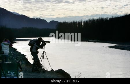 A photographer stands on the shores of Squamish River to photograph bald eagles in Brackendale, north of Vancouver, British Columbia December 28, 2006. Bald eagles from the United States and Canada gather in the area each November and stay till the following February to feed on chum along the shores of the river.    REUTERS/Andy Clark   (CANADA)