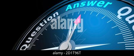 Compass with the needle pointing the word answer, 3D rendering