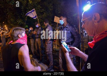 2.10.2020 Tel Aviv, Israel. Protest against Prime minister Netanyahu and second Coronavirus lockdown.