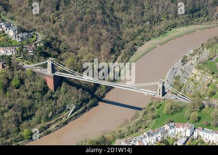 The Clifton Suspension Bridge, Designed by Isambard Kingdom Brunel in 1831, Bristol, 2018, UK. Aerial view. - Stock Photo