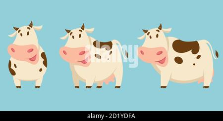 Vector set of cows in different poses. Farm animals in cartoon style. - Stock Photo