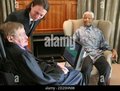 Former South African President Nelson Mandela (R) meets theoretical physicist Professor Stephen Hawking (L) at Mandela's Foundation office in Johannesburg May 15, 2008. Hawking is on a short visit to South Africa. On center is Hawking's assistant Peter Breadman. REUTERS/Pool (SOUTH AFRICA) - Stock Photo