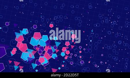 Abstract background of squares, circles and lines