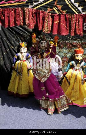 Colorful Rajasthani puppet dolls of Jaisalmer. Traditional puppet shows in Rajasthan is a popular tourist attraction.