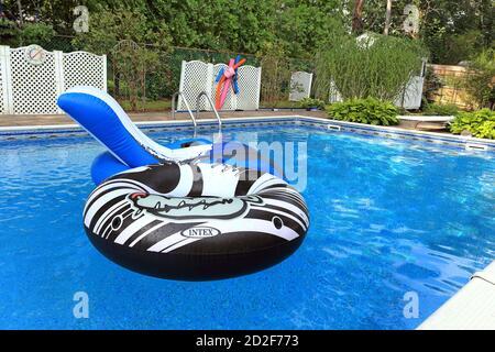 Pool floats Long Island New York - Stock Photo