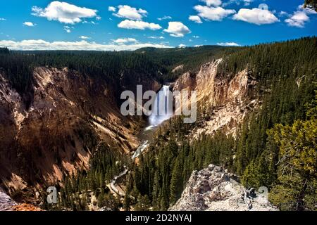 Lower Falls of the Yellowstone River and Grand Canyon, Yellowstone National Park, Wyoming, USA