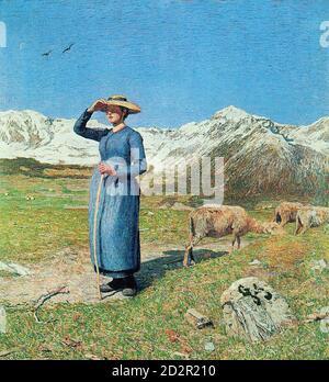 Segantini Giovanni - Mittag in Den Alpen 1 - Swiss School - 19th  Century - Stock Photo