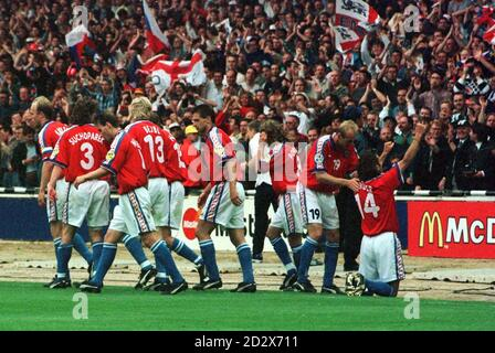 Patrik Berger (14) celebrates after opening the scoring for Czech Republic from a penalty against Germany in today's (Sun) Euro 96 Final at Wembley. Photo by Sean Dempsey/PA