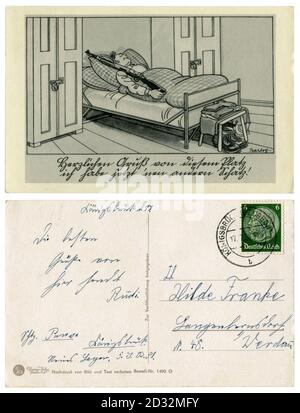 German historical postcard: The soldier is asleep, the service is on. He sleeps on duty with a rifle in his bed, satirical series, by Barlog, 1939 - Stock Photo