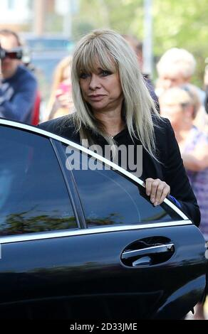 Jo Wood arrives at St Mary Magdalene and St Lawrence Church in Davington, near Faversham, Kent, for the funeral service of Peaches Geldof. - Stock Photo
