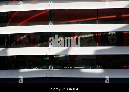 Leicester, Leicestershire, UK. 7th October 2020. Sunlight falls on a photograph of an actress in the closed Curve Theatre 100 days since the UKÕs first local coronavirus pandemic lockdown was announced in the city. Credit Darren Staples/Alamy Live News. Stock Photo
