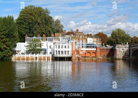 The exterior of the Mitre Hotel with the River Thames in the foreground, Hampton Court Greater London England UK