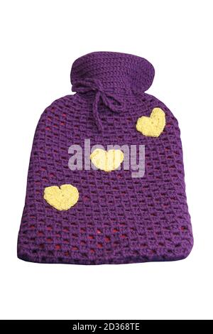 A Home Knitted Purple Wool Hot Water Bottle Cover.