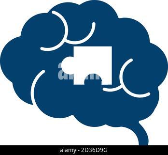human brain puzzle creativity silhouette icon vector illustration