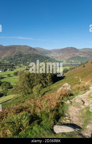 The track up to Boredale Hause from Patterdale in the Lake District, UK