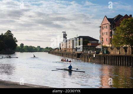Exeter Quay, view of people rowing on the River Exe in the Quay area of Exeter, Devon, south west England, UK