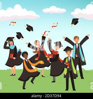 Happy international graduates with diplomas and graduation hats vector illustration - Stock Photo
