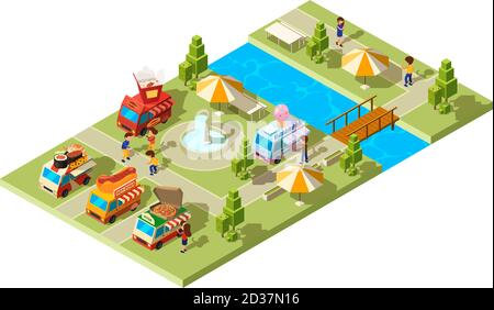 Street food park. Public place with wagons cars selling different food ice cream burgers sushi cold drinks vector isometric composition Stock Photo