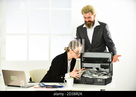 businessman make dollars. confident millionaire partnership. economy and finance. rich bank worker. investment in yourself. business partners. successful man and woman got lot of money. - Stock Photo
