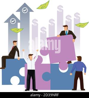 Business people connecting jigsaw puzzles. Concept of business, teamwork, cooperation, partnership. Flat cartoon character vector illustration design.