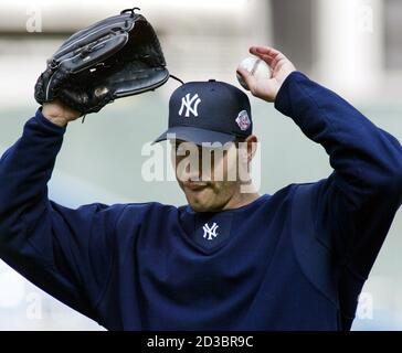 New York Yankees pitcher Andy Pettitte participates in a team workout at Yankee Stadium in New York, September 29, 2003. The Yankees will face the Minnesota Twins in Game 1 of their American League Division Series September 30. Pettitte finished the regular season with a record of 21-8 and a 4.02 ERA. REUTERS/Ray Stubblebine  RFS/GN - Stock Photo