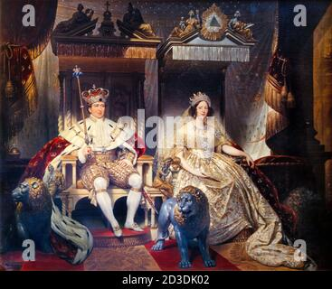 King Christian VIII of Denmark (1786-1848) and his Consort, Queen Caroline Amalie (1796-1881), in anointing costumes at his Coronation on 28th June 1840, portrait painting by Joseph Desire Court, 1840-1841 - Stock Photo