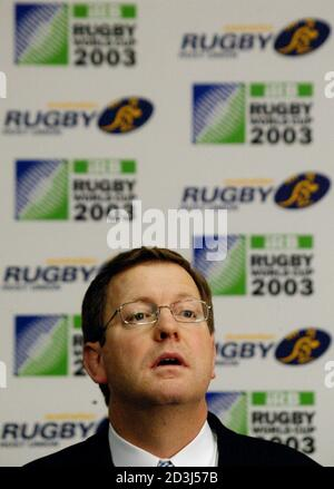 General Manager of the 2003 Rugby Union World Cup Matt Carroll speaks during a media conference April 19, 2002 at the Sydney headquarters of the Australian Rugby Union (ARU). Australia was confirmed as being the sole host of the 2003 event by the International Rugby Board (IRB) after co-hosts New Zealand were dropped after refusing to sign the original co-host agreement last March. REUTERS/David Gray  DG/PB - Stock Photo