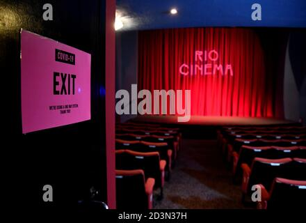 A general view is seen ahead of the opening for a screening at the Rio Cinema Dalston, amidst the spread of the coronavirus disease (COVID-19) pandemic, in London, Britain, October 8, 2020. REUTERS/Toby Melville - Stock Photo
