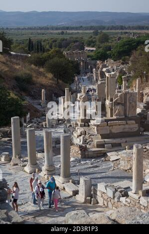 View down Curetes Street to Great Library, Ephesus, Turkey - Stock Photo