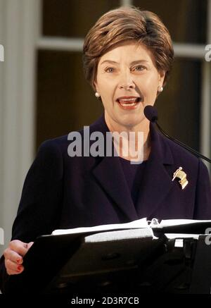 United States first lady Laura Bush speaks at grand opening ceremonies for the newly restored McLellan House and L.D.M Sweat Memorial Galleries at the Portland Museum of Art, October 5, 2002 in Portland, Maine.
