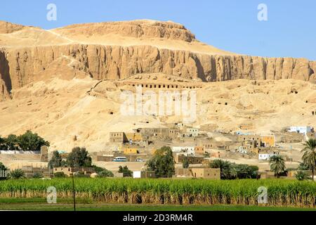 View over the queens valley and mortyary temple of Hatshepsut, the second female pharaoh. Luxor West Bank - Stock Photo