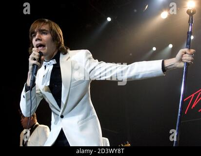 Singer Howlin' Pelle Almqvist of The Hives performs at The Joint inside the Hard Rock Hotel & Casino in Las Vegas, Nevada January 15, 2005. The Swedish rock group is touring in support of the album 'Tyrannosaurus Hives. - Stock Photo