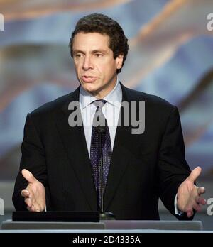 U.S. Secretary of Housing and Urban Development (HUD) Andrew Cuomo makes a point while addressing delegates during the last day of the Democratic National Convention, at the Staples Center in Los Angeles, August 17, 2000. Democrats on Thursday continued their national convention to nominate Vice President Al Gore for president and Connecticut Senator Joseph Lieberman for vice president. The August 14-17 convention is the first time since 1960, when John F Kennedy was nominated as their presidential candidate, that the party has converged upon Los Angeles to nominate a White House ticket.  JP/H - Stock Photo
