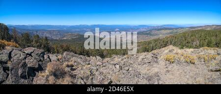 MT. ROSE WILDERNESS, UNITED STATES - Sep 27, 2020: A panoramic view of the Truckee and High Sierra area taken from the western slope of Snowflower Mou - Stock Photo