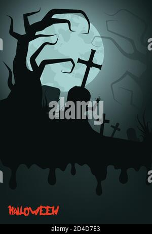 Old scary cemetery with gravestones and crosses. Special for Halloween. EPS 10