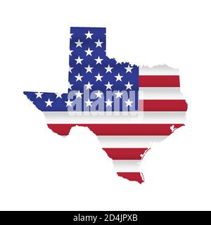 Texas US state flag map vector isolated - Stock Photo