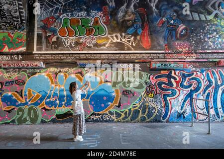 Graffiti along Leake Street on the 14th September 2020 on the South Bank in the United Kingdom. Photo by Sam Mellish