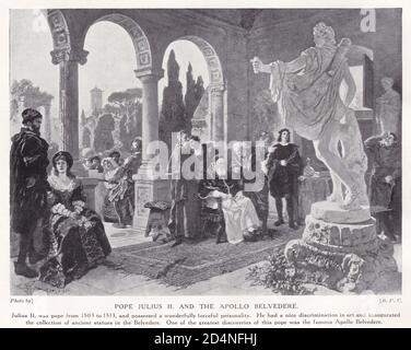 Pope Julius II. and the Apollo Belvedere - Stock Photo