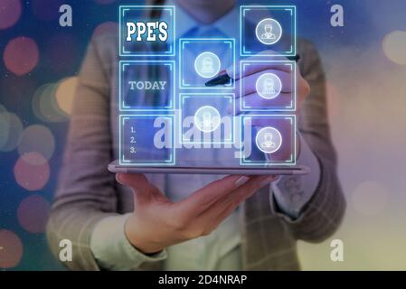 Word writing text Ppe s is. Business photo showcasing Specialized equipment for protection against health and safety hazard Grids and different set up - Stock Photo