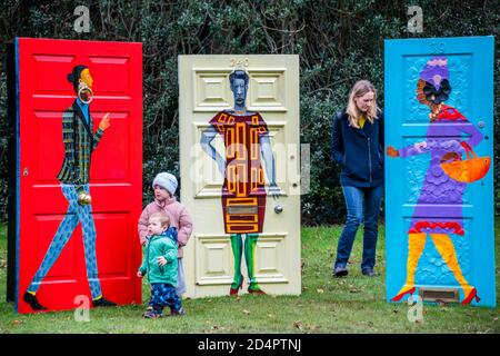 London, UK. 10th Oct, 2020. Lubaina Himid, Five Conversations, 2019 - Frieze Sculpture, the largest outdoor exhibition in London. Work by 12 leading international artists in Regent's Park from 5th October - 18h October in a free showcase. Credit: Guy Bell/Alamy Live News - Stock Photo