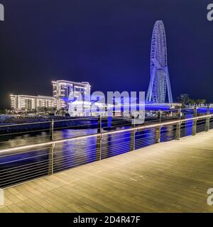 DUBAI, UNITED ARAB EMIRATES - Nov 12, 2018: View of the Dubai Eye Wheel and Bluewaters Is