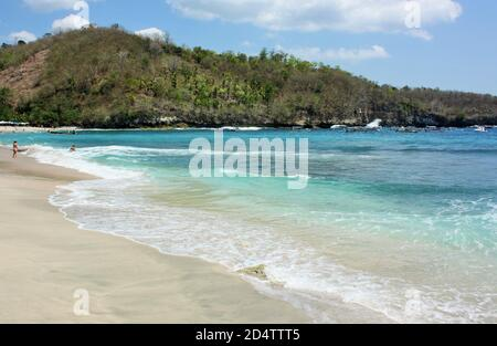 Tropical beach with white sand at Crystal Bay on the island of Nusa Penida, Indonesia
