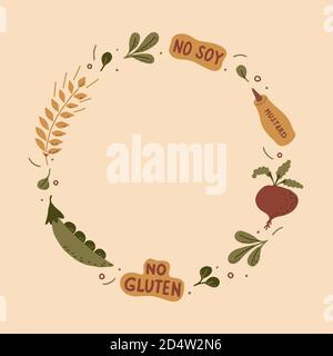 The circle frame is made from hand-drawn lettering and green plants with the ingredients of plant-based meat. Vector illustration.  - Stock Photo