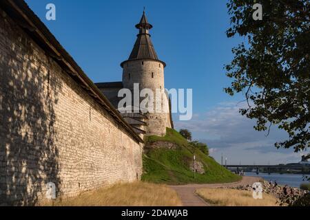 Wall and Kutecroma tower in Pskov Krom (Kremlin), Russia
