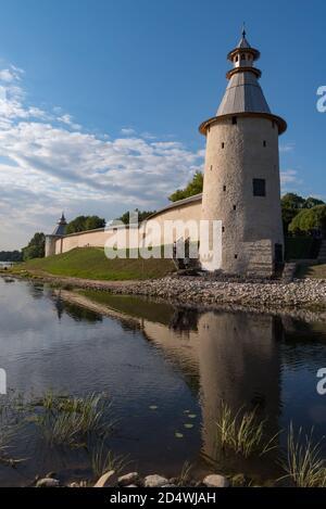 Wall and High tower in Pskov Krom (Kremlin), Russia