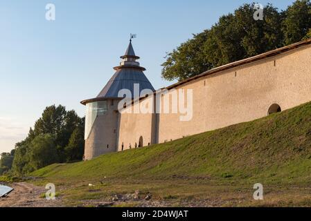 Wall and Varlaam  tower in Pskov Krom (Kremlin), Russia